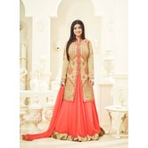 Craftsvilla Orange And Peach Color Bangalore Silk Embroidered Traditional Semi-stitched A Line Style Salwar Suit