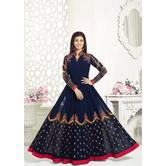 Craftsvilla Blue Color Georgette Embroidered Circular Semi-stitched Traditional Anarkali Suit