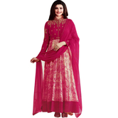 Craftsvilla Pink Color Georgette Embroidered Circular Semi-stitched Anarkali Suit