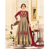 Craftsvilla Beige And Brown Color Georgette Embroidered Semi-stitched Circular Anarkali Suit