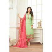 Craftsvilla Green Color Georgette Embroidered Traditional Semi-stitched Straight Salwar Suit