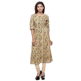 Anuswara Beige Color Cotton Printed Knee Length A Line Style Kurti