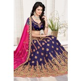 Craftsvilla Blue Color Bangalore Silk Embroidered Semi-stitched Designer Lehenga