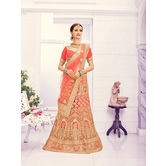 Craftsvilla Peach Color Net Embroidered Semi-stitched Traditional Lehenga