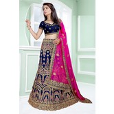 Craftsvilla Blue Color Bangalore Silk Embroidered Semi-stitched Traditional Lehenga