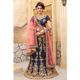 Craftsvilla Blue Color Taffeta Embroidered Semi-stitched Traditional Lehenga