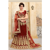 Craftsvilla Maroon Color Velvet Embroidered Semi-stitched Traditional Lehenga