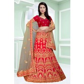 Craftsvilla Red Color Bangalore Silk Embroidered Semi-stitched Designer Lehenga