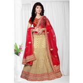 Craftsvilla Gold Color Net Embroidered Semi-stitched Designer Lehenga