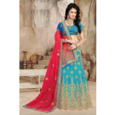 Craftsvilla Turquoise Color Bangalore Silk Embroidered Semi-stitched Traditional Lehenga