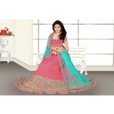 Craftsvilla Pink Color Taffeta Embroidered Semi-stitched Traditional Lehenga Choli