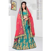 Craftsvilla Teal Blue Color Taffeta Embroidered Semi-stitched Traditional Lehenga