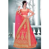 Craftsvilla Pink Color Net Embroidered Semi-stitched Designer Lehenga
