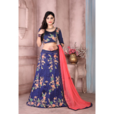 Craftsvilla Blue Color Taffeta Embroidered Semi-stitched Designer Lehenga Choli