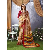 Craftsvilla Peach Color Faux Georgette Floral Printed Designer Saree