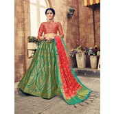 Craftsvilla Green Color Banarasi Silk Jacquard Semi-stitched Designer Lehenga Choli