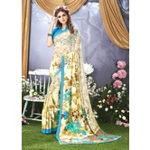 Craftsvilla Beige Color Faux Georgette Floral Printed Designer Saree