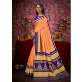 Craftsvilla Orange Color Khadi Embellished Designer Saree