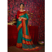 Craftsvilla Green Color Khadi Embellished Designer Saree