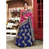 Craftsvilla Blue Color Banarasi Silk Jacquard Semi-stitched Designer Lehenga Choli