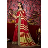 Craftsvilla Red Color Khadi Embellished Designer Saree