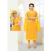 Craftsvilla Yellow Color Cotton Unstitched Straight Suit