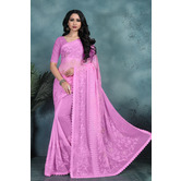 Craftsvilla Pink Color Faux Chiffon Embroidered Traditional Saree