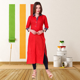 Anuswara Red Color Cotton Plain Calf Length Straight Kurti