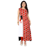 Anuswara Red Color Rayon Printed Calf Length A Line Style Kurti