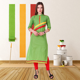 Anuswara Green Color Cotton Plain Calf Length Straight Kurti