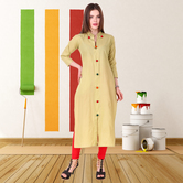 Anuswara Beige Color Cotton Plain Calf Length Straight Kurti