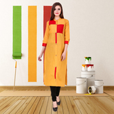 Anuswara Mustard Color Cotton Plain Calf Length Straight Kurti