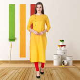Anuswara Yellow Color Cotton Plain Calf Length Straight Kurti