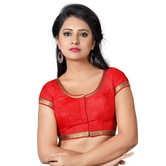 Craftsvilla Red Color Dupion Silk Plain Round Neck Short Sleeve Stitched  Traditional Blouse