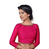 Craftsvilla Cow Neck Back Opening Ready Made Designer Saree Blouse - Pink