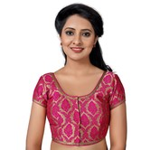 Craftsvilla Pink Color Brocade Printed U Neck Short Sleeve Stitched  Traditional Blouse