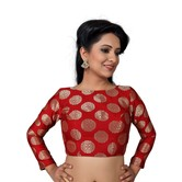 Craftsvilla High Neck Back Opening Ready Made Designer Saree Blouse - Red