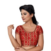 Craftsvilla Red Color Brocade Printed U Neck Short Sleeve Stitched  Traditional Blouse