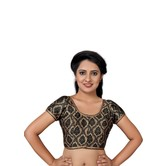 Craftsvilla Black Color Brocade Printed U Neck Short Sleeve Stitched  Traditional Blouse