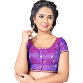 Craftsvilla Purple Color Silk Net Hems U Neck Short Sleeve Stitched  Traditional Blouse