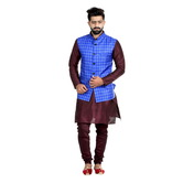 Craftsvilla Blue Color Cotton Blend Chinese Collar Neck Sleeveless Nehru Style Jacket