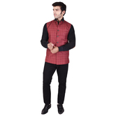 Craftsvilla Red Color Cotton Blend Chinese Collar Neck Sleeveless Nehru Style Jacket
