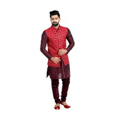 Craftsvilla Red Color Banarasi Silk Chinese Collar Neck Sleeveless Nehru Style Jacket