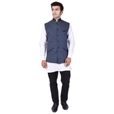 Craftsvilla Blue Color Cotton Chinese Collar Neck Sleeveless Nehru Style Jacket