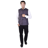 Craftsvilla Grey Color Cotton Blend Chinese Collar Neck Sleeveless Nehru Style Jacket