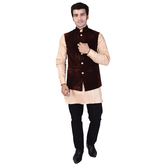Craftsvilla Brown Color Velvet Chinese Collar Neck Sleeveless Nehru Style Jacket