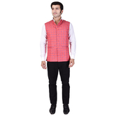 Craftsvilla Pink Color Cotton Blend Chinese Collar Neck Sleeveless Nehru Style Jacket
