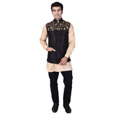 Craftsvilla Black Color Raw Silk Chinese Collar Neck Sleeveless Nehru Style Jacket