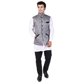 Craftsvilla Grey Color Cotton Chinese Collar Neck Sleeveless Nehru Style Jacket