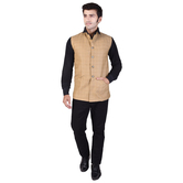 Craftsvilla Beige Color Cotton Blend Chinese Collar Neck Sleeveless Nehru Style Jacket